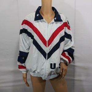 Vintage USA Flag Windbreaker Track Jacket Sz M